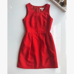 J. Crew red Allie dress silk wool